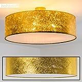 Stilvolle Deckenlampe Foggia mit Stoffschirm in Gold - Deckenlampe mit textilem Lampenschirm - Ø 60 cm - Zimmerlampe für Wohnzimmer, Flur, Dielen, Schlafzimmer, Küche - LED-fähig - 3x E14-40 Watt