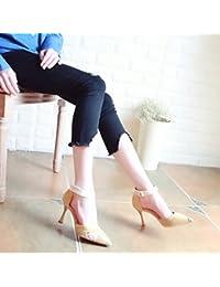 Xue Qiqi Escarpins Astuce noir satin chaussures femmes chaussures unique et élégant bracelet croix vide côté chaussures de talon haut,34, noir