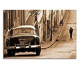 120x80cm Leinwandbild auf Keilrahmen Kuba Chevrolet Auto Häuser Straße Wandbild auf Leinwand als Panorama