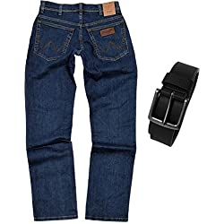 Wrangler TEXAS STRETCH Herren Jeans Regular Fit inkl. Gürtel (W44/L32, Darkstone)