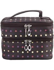Polka Dots filles Deux-couche de maquillage professionnel de la femme de poche Zipper Pouch de toilette Trousse de toilette Organisateur pour Voyage Home Use (café)