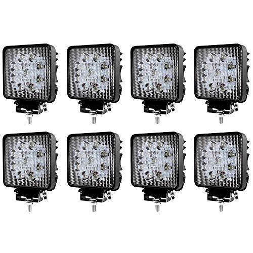 8 X 27W Scheinwerfer LED Arbeitsscheinwerfer SUV IP67 Zusatzscheinwerfer mit 9 LEDs Abstrahlwinkel 30 Grad 2430 Lumen Strahler für ATV, UTV, Offroad, Traktor, LKW -