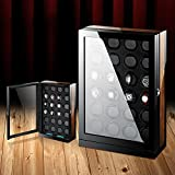 Luxury Smart Watch Winder For Automatic Watches,Wood Shell + Piano Paint +Japanese Motor For 24 Watches With LED Light