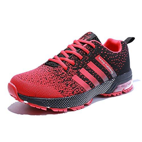 Damen Herren Laufschuhe Sportschuhe Turnschuhe Trainers Running Fitness Atmungsaktiv Sneakers(rot schwarz,Größe 40)