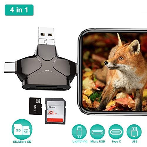 Usb-sti (Boomder 4-in-1-SD-Kartenleser, USB 3.0-Micro-SD-Kartenleser, Hinterkamera-Viewer für iPhone iPad MacBook Android, Speicherkartenadapter mit Lightning-OTG-Typ C, Jagd-Cam-Foto- und Video-Viewer USB-Sti)