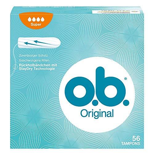 o.b. Original Super Tampons mit geschwungenen Rillen - Für zuverlässigen Schutz ideal für starke Tage - 56er Pack