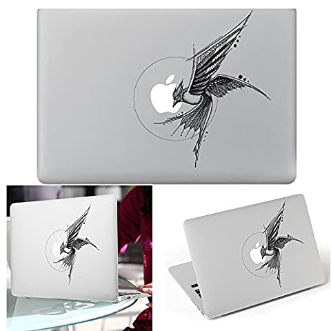 Macbook Autocollant Décalque, YUDA Tech Amovible Oiseau Conception Vinyle Decal Peau Stickers Ajustement Parfait pour Portable MacBook Air/Pro/Retina 13 15 pouce
