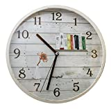 Emartbuy 12 Pulgadas (30 cm) Silencioso No-Tictac Decorativo Rústico Cuarzo Reloj de Pared Para Cocina, Sala De Estar, Dormitorio, Oficina - Flor Naranja