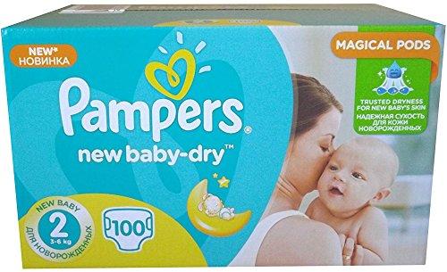 100 Pampers Windeln New Baby-Dry Gr. 2, 3-6 Kg, Baumwolle weich und mit absorbierenten Micro Pearls