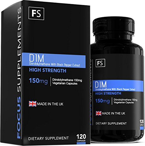 Diindolylmethan – DIM – 150 mg pro Kapsel - 120 vegetarische Kapseln mit schwarzem Pfefferextrakt zur besseren Aufnahme – Vorrat für 4 Monate – Hergestellt in Großbritannien in ISO-zertifizierten Betrieben