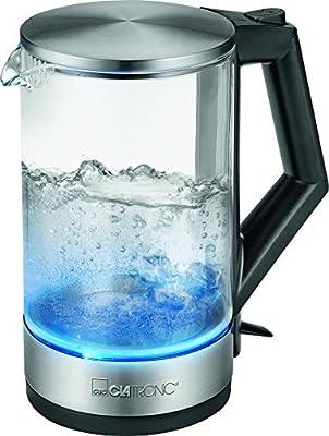 Clatronic Wks 3641G Bouilloire en verre avec éclairage bleu 1,5L d'eau, sans fil, indicateur, boîtier en acier inoxydable, 2200W