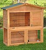 nanook clapier cage lapin en bois Flocon 2 étages - jolies couleurs - bois naturel - Taille L 100 x 100 cm