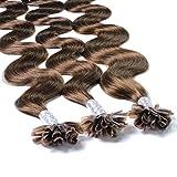 Hair2Heart 25 x 1g extensions cheveux keratine à chaud - 40cm, #4 brun, ondulé