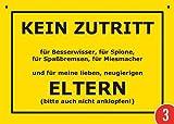 3er-Pack: Postkarte Kunststoff +++ VERBOTENE SCHILDER von modern times +++ KEIN ZUTRITT FÜR ELTERN +++ ARTCONCEPT © VERBOTENE SCHILDER