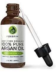 Pure Argan Öl für Haare, Gesicht und Körper aus Marokko, 100% Bio, gebürtig, kalt gepresst - Serum für Anti-Aging, Anti-Falten / Feuchtigkeitsspenden für junge Haut & Nägel-Foxbrim 60ml