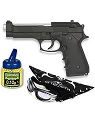 Pack Pistola airsoft M92F metálica negra. Calibre 6mm. Potencia 0,5 Julios + Gafas antivaho + Biberon 1000 bolas
