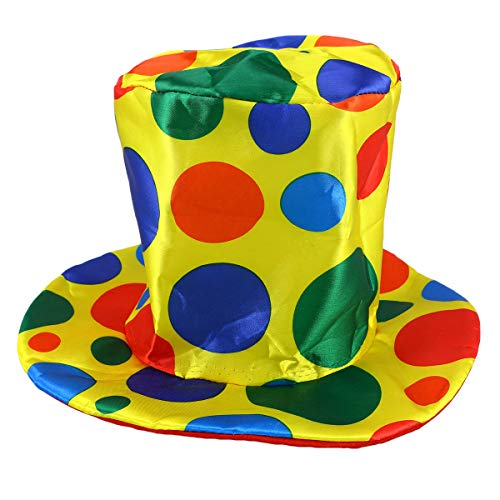 Amosfun Clown Zylinder Polka Dot Hut Karneval Requisiten Krempe Kostüm Zubehör für Party Kostüm Karneval ()