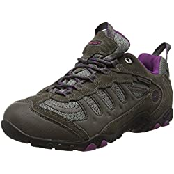 Hi-Tec Penrith Low Waterproof, Zapatillas de Senderismo Mujer, Gris (Charcoal/purple), 38 EU (5 UK)