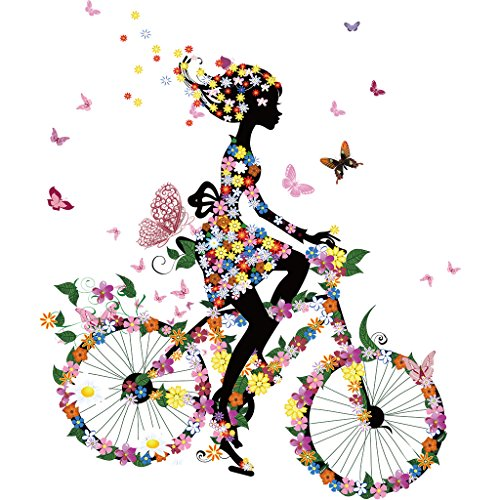 Jiamins 1 Stück Patch Sticker - Mädchen Fahrrad Fahren DIY Druck Stickerei Applikation Für Decoreting Und Patching Jacket,T-Shirt,Hut,Kleid (17x20cm)