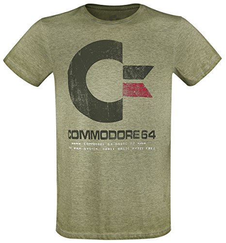 Vintage Style Commodore 64 T-shirt - Mottled Green - S to XXL