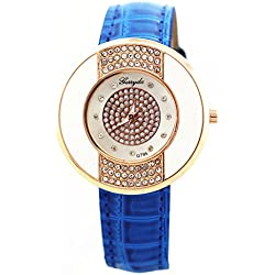 Rhinestone Wrist Watch - Gerryda Fashion Women Watch Leather Band Sport Analog Quartz Wrist Watch, Blue