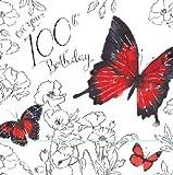 twizler Happy 100. Geburtstag Karte für Ihre mit Silber folieren und einzigartige Wasserfarben Effekt–Schmetterling–100Jahre–Alter 100Geburtstag–Weiblich Geburtstag Karte