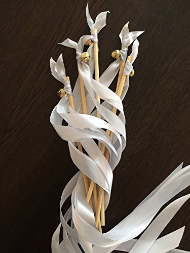 20er Wedding Wands Glücksstäbe EinsSein Liebeszauber silber Hochzeit Konfetti Ribbon Wands Party