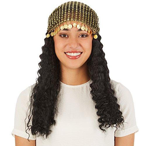 rücke Wahrsagerin | Schönes, mittellanges Haar | Inkl. Kopftuch aus Paillettenstoff und mit Metallmünzendeko (Sexy Piraten Haar)