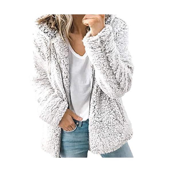 LILICAT Womens Fuzzy Casual Loose Sweatshirt Fleece Hoodies With Pockets Ladies Womens Soft Teddy Fleece Hooded Jumper Hoody Jacket Coat