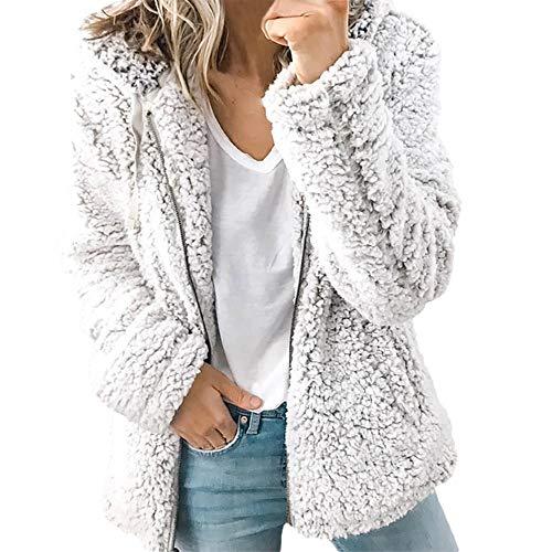 TianWlio Damen Mäntel Frauen Herbst langärmelige Dicke Kapuze offene Stich Mantel Jacke Strickjacke
