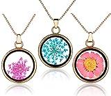 Yumilok Trockene Rote/Blau Blumen Transparent Rund Anhänger Halskette Legierung Glas Flasche Kettenänhanger für Damen Mädchen, 3 Stücke