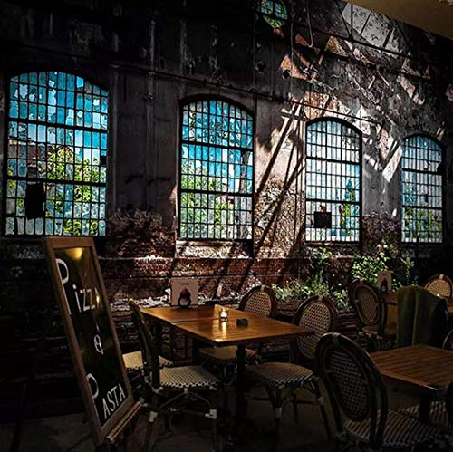 3D Vlies Tapete Personality Künstlerische Malerei 3D Fototapete Retro Industrie Wind Verfallenen Fenster Große Kunst Wandmalerei Bar RestaurantWandbild 3D @ 350 * 245