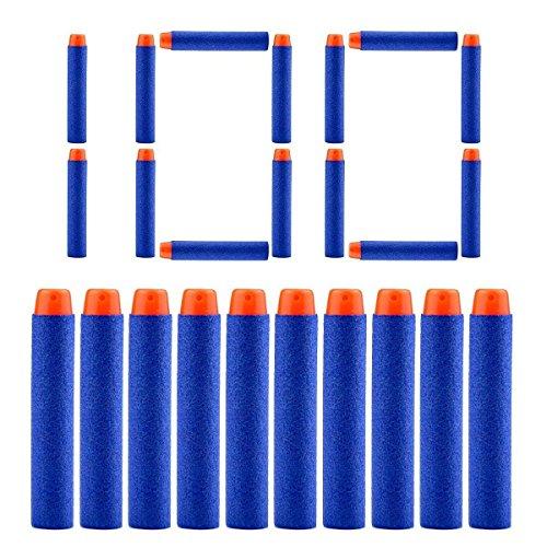 QUN FENG Refill Pfeile Darts 100PCS Nerf Darts Schaum Spitze Premium Kugeln Munition Pack für Nerf N-Streik Elite Blasters Kid Gun Spielzeug, Blau …