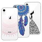Yokata 3X Coques, Coque iPhone XR Transparent Étui Silicone Souple Swag Gel Case Ultra Fine Mince Housse Antichoc Protection Motif Etui - Mandala + Attrape Reve + Fille