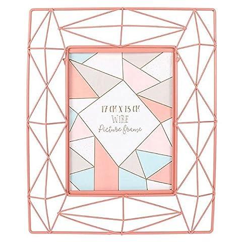 Géométrique strass rose Cadre photo fil métal 28cm x 22cm