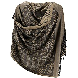 GURU-SHOP, Pashmina Viscosa Bufanda/Estola con Diseño OM, Beige, Sintético, Tamaño:One Size, 180x70 cm, Bufandas