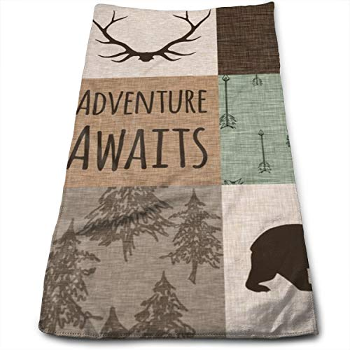 Antlers And Bear - Adventure Awaits Quilt - Green And Brown_7540 Microfiber Bath Towels,Soft, Super Absorbent and Fast Drying, Antibacterial, Use for Sports, Travel, Fitness, Yoga 12 * 27.5 Inch -