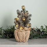Lights4fun - Albero di Natale di 30cm con 8 LED Bianco Caldo a Pile