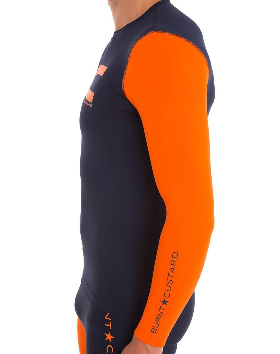 Burnt Custard Men's High Contrast Base Layer Top, Navy/Orange