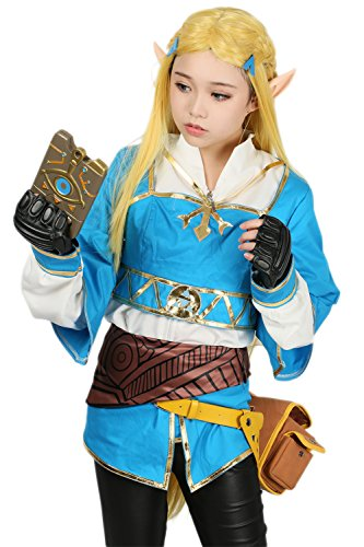 Princess Cosplay Kostüm Deluxe Outfit mit Gürtel Zubehör Kleidung Damen Verrücktes Kleid für Halloween Merchandise (Cosplay Zelda Kostüm)