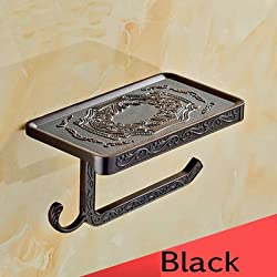 Generic Antique/Gold/Black/Chrome//White Toilet Paper Holders Mobile Phone Holder With Hook Bathroom Accessories Paper Shelf Black