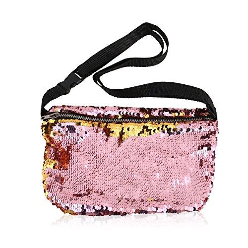 OULII - Riñonera (diseño con lentejuelas para mujer, un regalo perfecto para San Valentín), color dorado y rosa