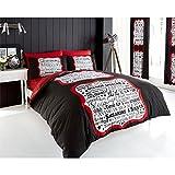 ¡No molestar! Juego de funda nórdica y funda de almohada reversible, diseño de texto en inglés hora de dormir, algodón poliéster, negro, rojo y beige, doble
