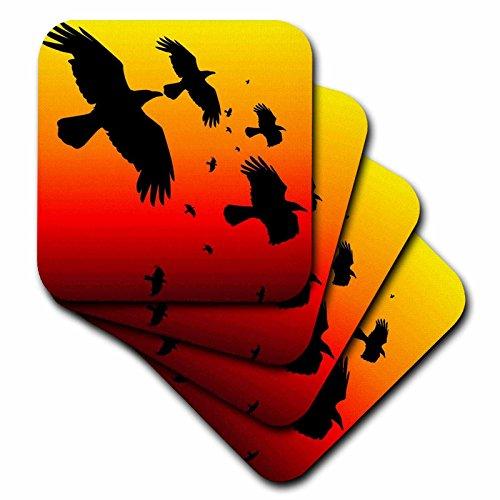 en–Crows–Raben auf einem rot sky- Tier, Vogel, Vögel, Krähe, Halloween, Mythos, Mythologische, Mythologie, Raven–Untersetzer, keramik, rot, set-of-4-Ceramic (Halloween-raben Und Krähen)
