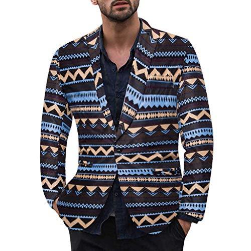 TWISFER Herren Anzug Sakko Drucken Blazer Slim Fit Winter Fashion Jacke Langarm Mantel Top Suits Coat Jacket Business Freizeit Arbeits Wild Hochzeit Anzüge Anzugsjacke -