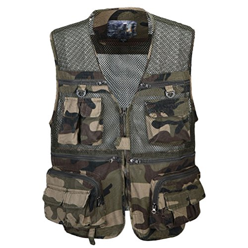 Zhhlaixing Guter Stoff Mens Summer Thin Mesh Multifunction Fishing Vest Size:XL-XXXL Gift for Father's Day Camouflage