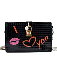 Box Shoulder Bag With Chain Strap Cute Red Lip Print Clutch Handbags For Women From Mily
