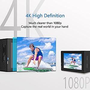 """Crosstour Cámara Deportiva Impermeable 4K Ultra HD Wi-Fi 12MP Acción 2"""" LCD Ángulo 170 Grados con 2 Baterías 1050mAh Impermeable 30m y 18 Accesorios Multifuncionales"""