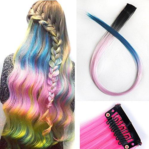Miya® 1 Stück Clip-In-Haarteil, Haarverlängerung, Perücken, Kunsthaar in schöner Gradient Farbe, sehr schönes Accessoire für Party, Fasching, Karneval, Fest, Farbe schwarz-hell - Teezers Kostüm