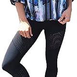 Morbuy Damen Leggings Sporthose, Sport Gym Yoga Workout Pants Basic Fitness Hohe Taille Jogginghose Trainingshose Skinny Hosen Hose Camouflage Stitching Perspektive schwarz (M, Schwarzes Loch)